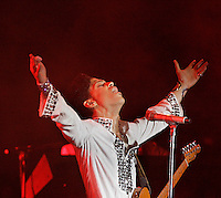 INDIO,CA - APRIL 27,2008: Prince performs at Coachella Valley Music & Arts Festival.