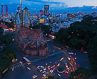 An Birds Eye View of Saigon (Ho Chi Minh City, HCMC) and the stunning Notre-Dame Cathedral Basilica of Saigon (Vietnamese: Vương cung thánh đường Chính tòa Đức Bà Sài Gòn or Nhà thờ Đức Bà Sài Gòn; French: Basilique-Cathédrale Notre-Dame de Saigon),  is a cathedral located in the downtown of Ho Chi Minh City, Vietnam. Established by French colonists who initially named it Cathédrale Notre-Dame de Saïgon, the cathedral was constructed between 1863 and 1880. It has two bell towers, reaching a height of 58 meters (190 feet).