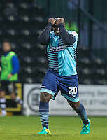 Adebayo Akinfenwa of Wycombe Wanderers shows his frustration during the Sky Bet League 2 match between Notts County and Wycombe Wanderers at Meadow Lane, Nottingham, England on 10 December 2016. Photo by Andy Rowland.