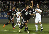 Josh Wolff(16) of D.C. United celebrates after scoring  during a play-in game for the US Open Cup tournament against the Philadelphia Union at Maryland Sportsplex, in Boyds, Maryland on April 6 2011. D.C. United won 3-2 after overtime penalty kicks.
