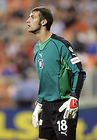 9 April 2005.   Chicago Fire goalkeeper Matt Pickens (18) watches the field at RFK Stadium in Washington, DC.