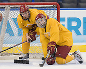 Jason Binkley (FSU - 7), Justin Buzzeo (FSU - 21) - The Ferris State University Bulldogs practiced on Friday, April 6, 2012, during the 2012 Frozen Four at the Tampa Bay Times Forum in Tampa, Florida.