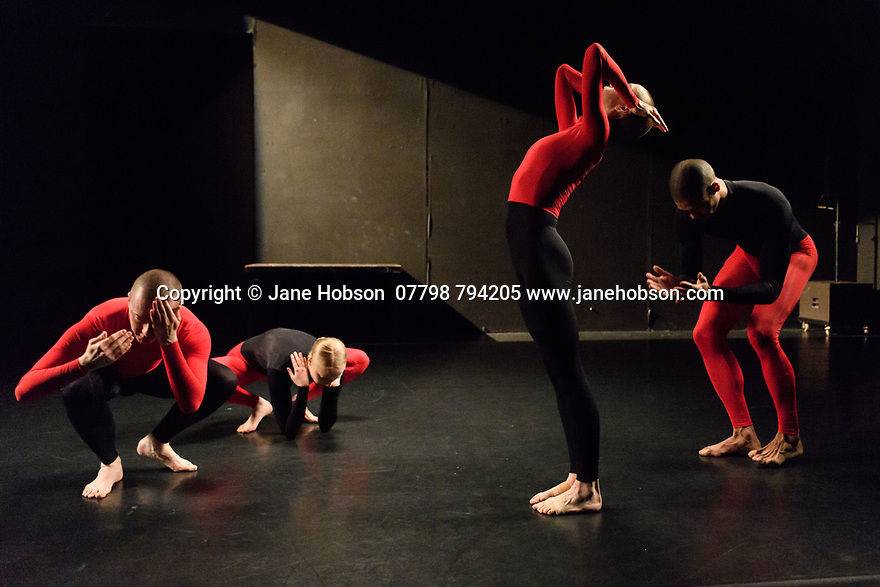 """London, UK. 08.03.2017. Julie Cunningham & Company present """"Returning"""" and """"To Be Me"""", in a double bill, in The Pit, at the Barbican Centre. The piece shown is """"To Be Me"""". The dancers are: Julie Cunningham, Harry Alexander, Hannah Burfield, Alexander Williams. Photograph © Jane Hobson."""
