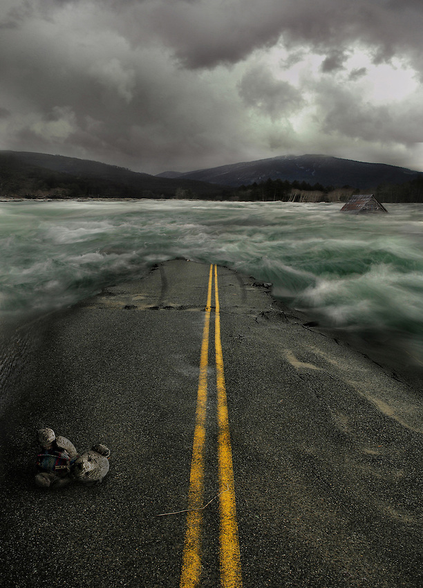 "A Flood is Coming."" Visual interpretation of the Tool song ""Flood."" Numerous composited images from a place near Index, Washington where the road was destroyed by flood waters. <br />