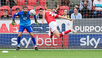 Lincoln City's Josh Vickers makes a save from Rotherham United's Shaun MacDonald<br /> <br /> Photographer Chris Vaughan/CameraSport<br /> <br /> The EFL Sky Bet Championship - Rotherham United v Lincoln City - Saturday 10th August 2019 - New York Stadium - Rotherham<br /> <br /> World Copyright © 2019 CameraSport. All rights reserved. 43 Linden Ave. Countesthorpe. Leicester. England. LE8 5PG - Tel: +44 (0) 116 277 4147 - admin@camerasport.com - www.camerasport.com