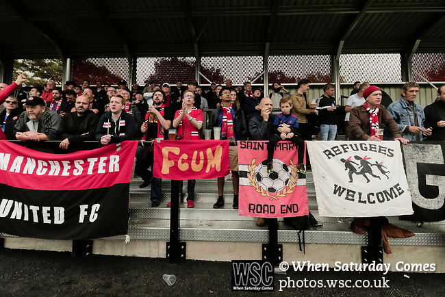 Salford City 2 FC United of Manchester 1, 15/07/2017. Moor Lane, Pre Season Friendly. FCUM fans, Salford City v FC United of Manchester in a pre season friendly at Moor Lane Salford. Photo by Paul Thompson.