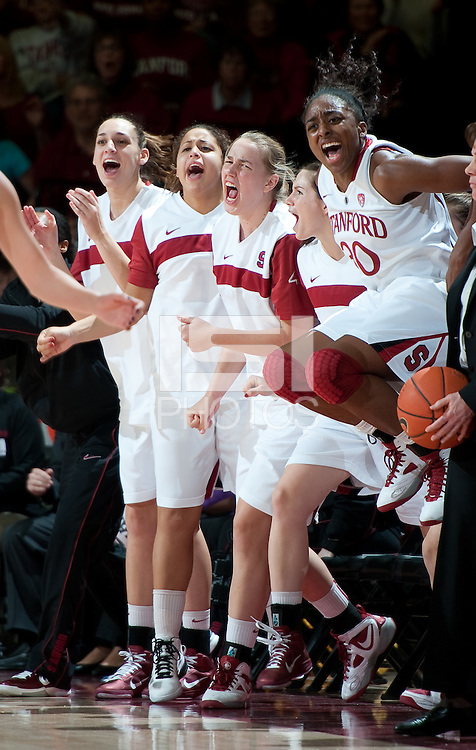 STANFORD CA-DECEMBER 30, 2010: The Stanford bench celebrates during the Stanford 71-59 victory over UCONN at Maples Pavilion.