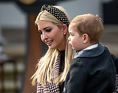 "First Daughter and Advisor to the President Ivanka Trump, holds her son, Theodore, as she arrives prior to and United States President Donald J. Trump and First Lady Melania Trump hosting the National Thanksgiving Turkey Pardoning Ceremony in the Rose Garden of the White House in Washington, DC on Tuesday, November 20, 2018.  According to the White House Historical Association, the ceremony originated in 1863 when US President Abraham Lincoln's granted clemency to a turkey. The tradition jelled in 1989 when US President George HW Bush stated ""But let me assure you, and this fine tom turkey, that he will not end up on anyone's dinner table, not this guy -- he's granted a Presidential pardon as of right now -- and allow him to live out his days on a children's farm not far from here.""<br /> Credit: Ron Sachs / CNP<br /> (RESTRICTION: NO New York or New Jersey Newspapers or newspapers within a 75 mile radius of New York City)"