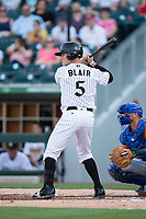 Carson Blair (5) of the Charlotte Knights at bat against the Durham Bulls at BB&T BallPark on May 16, 2017 in Charlotte, North Carolina.  The Knights defeated the Bulls 5-3. (Brian Westerholt/Four Seam Images)