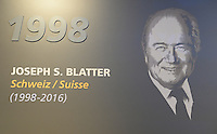28-02-2016 Zurigo  Football FIFA; A plate showing a picture of former FIFA President Joseph Sepp Blatter in the new FIFA museum<br /> (Steffen Schmidt/freshfocus/Insidefoto)