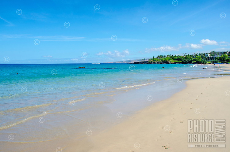 Hapuna Beach, along the Big island of Hawaii's Kohala coast. This white sand beach has been rated one of the best beaches in the world time and time again