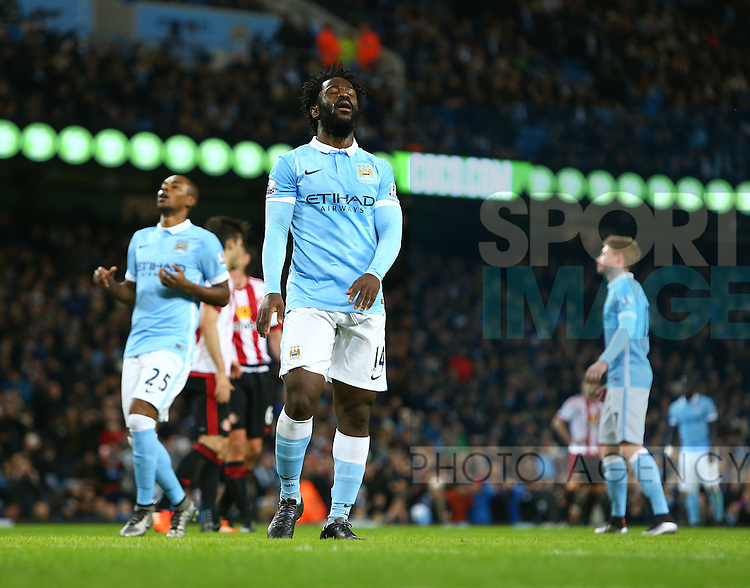 Wilfried Bony of Manchester City dejected after missing his penalty kick - Manchester City vs Sunderland - Barclays Premier League - Etihad Stadium - Manchester - 26/12/2015 Pic Philip Oldham/SportImage