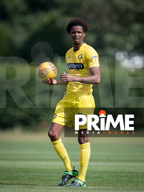 Sido Jombati of Wycombe Wanderers during the behind closed doors friendly between Brentford B and Wycombe Wanderers at Brentford Football Club Training Ground & Academy, 100 Jersey Road, TW5 0TP, United Kingdom on 3 September 2019. Photo by Andy Rowland.