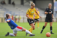 20190807 - DENDERLEEUW, BELGIUM : LSK's Elise Thorsnes pictured avoiding tackling Linfield's Abbie Magee (left) during the female soccer game between the Norwegian LSK Kvinner Fotballklubb Ladies and the Northern Irish Linfield ladies FC , the first game for both teams in the Uefa Womens Champions League Qualifying round in group 8 , Wednesday 7 th August 2019 at the Van Roy Stadium in Denderleeuw  , Belgium  .  PHOTO SPORTPIX.BE for NTB  | DAVID CATRY