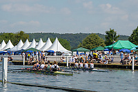 """Henley on Thames, United Kingdom, 3rd July 2018, Sunday,  """"Henley Royal Regatta"""",  The Princess Grace Challenge Cup, the crews row away from the end of the Island, (Left) Cambridge University Women's Boat Club (CUWBC) and Imperial College, (Right) Christiania Roklub, NOR, View, Henley Reach, River Thames, Thames Valley, England, UK."""