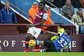 4th November 2017, Villa Park, Birmingham, England; EFL Championship football, Aston Villa versus Sheffield Wednesday; Ross Wallace of Sheffield Wednesday takes the legs away from Keinan Davis of Aston Villa to earn a yellow card