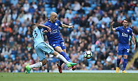Leicester City's Yohan Benalouane is tackled by Manchester City's Gabriel Jesus<br /> <br /> Photographer Stephen White/CameraSport<br /> <br /> The Premier League - Manchester City v Leicester City - Saturday 13th May 2017 - Etihad Stadium - Manchester<br /> <br /> World Copyright &copy; 2017 CameraSport. All rights reserved. 43 Linden Ave. Countesthorpe. Leicester. England. LE8 5PG - Tel: +44 (0) 116 277 4147 - admin@camerasport.com - www.camerasport.com