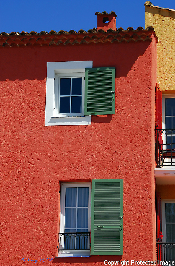 St Tropez, South of France, Red Home, Wooden Shutters, Summer in South of France<br />