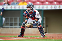Cedar Rapids Kernels catcher Rafael P Valera (18) during the first game of a doubleheader against the Kane County Cougars on May 10, 2016 at Perfect Game Field in Cedar Rapids, Iowa.  Kane County defeated Cedar Rapids 2-0.  (Mike Janes/Four Seam Images)