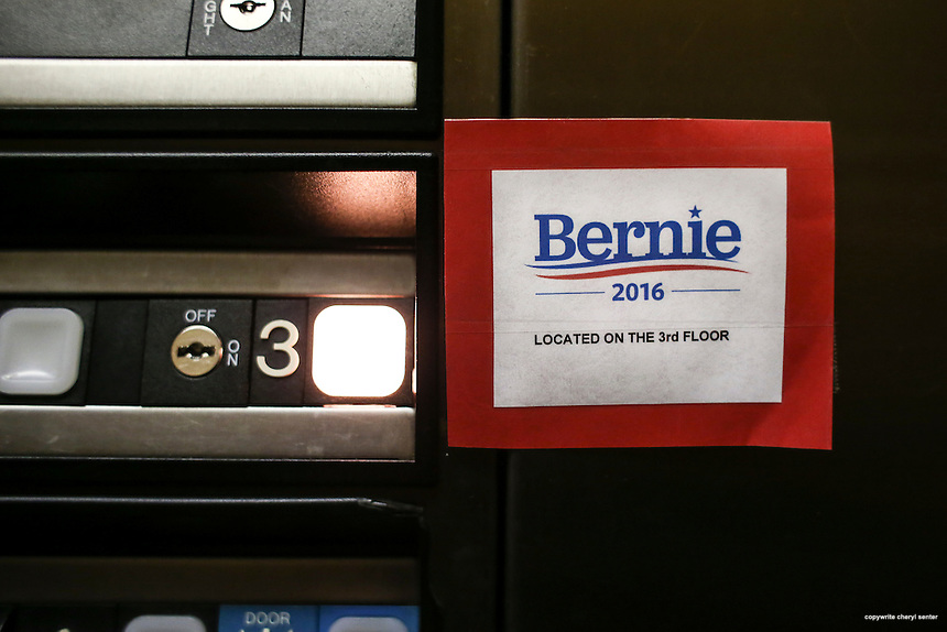 A Bernie Sanders sign is placed next to the third floor button that leads to the campaign office in Burlington, Vermont the day after Super Tuesday,  Wednesday, March 2, 2016.  CREDIT: Cheryl Senter for The New York Times