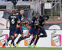 Foxborough, Massachusetts - August 9, 2016: First half action. 2016 Lamar Hunt U.S Open Cup Semifinal, New England Revolution (blue) vs Chicago Fire (red), at Gillette Stadium.<br /> Goal celebration.