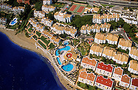 Spain. Costa del Sol.  Holiday apartments between Marbella and Malaga. Aerial..