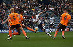 Preston North End 1 Reading 0, 19/08/2017. Deepdale, Championship. Home striker and the game's only goalscorer Jordan Hughill goes in search of a second goal in the second-half as Preston North End take on Reading in an EFL Championship match at Deepdale. The home team won the match 1-0, Jordan Hughill scoring the only goal after 22nd minutes, watched by a crowd of 11,174. Photo by Colin McPherson.
