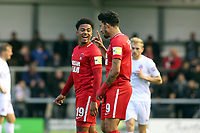 O's Josh Koroma celebrates his 2nd goal  with Macauley Bonne during AFC Fylde vs Leyton Orient, Vanarama National League Football at Mill Farm on 3rd November 2018