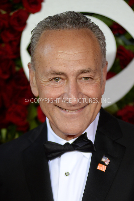www.acepixs.com<br /> June 12, 2016  New York City<br /> <br /> Chuck Schumer attending the 70th Annual Tony Awards at The Beacon Theatre on June 12, 2016 in New York City.<br /> <br /> Credit: Kristin Callahan/ACE Pictures<br /> <br /> <br /> Tel: 646 769 0430<br /> Email: info@acepixs.com