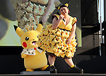 "August 12, 2016, Yokohama, Japan - Japanese actress and comedienne Naomi Watabe dances with Pikachu characters, Nintendo's videogame software Pokemon's wellknown character at a show ""Super Soaking Splash Show"" in Yokohama, suburban Tokyo on Friday, August 12, 2016. The Pikachu mascots perfom the several shows daily to attract summer vacationers as a part of the ""Great Pikachu Outbreak"" event through August 14.    (Photo by Yoshio Tsunoda/AFLO) LWX -ytd-"