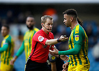 9th February 2020; The Den, London, England; English Championship Football, Millwall versus West Bromwich Albion; Referee Gavin Ward giving instructions to Hal Robson-Kanu of West Bromwich Albion