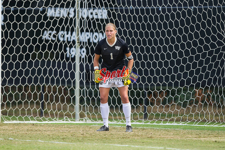 Aubrey Bledsoe (1) of the Wake Forest Demon Deacons defends her goal during second half action against the Miami Hurricanes at Spry Soccer Stadium on September 15, 2013 in Winston-Salem, North Carolina.  The Deacons defeated the Hurricanes 4-0.   (Brian Westerholt/Sports On Film)