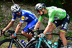 Fernando Gaviria (COL) Quick-Step Floors and Green Jersey Peter Sagan (SVK) Bora-Hansgrohe during Stage 8 of the 2018 Tour de France running 181km from Dreux to Amiens Metropole, France. 14th July 2018. <br /> Picture: ASO/Alex Broadway | Cyclefile<br /> All photos usage must carry mandatory copyright credit (&copy; Cyclefile | ASO/Alex Broadway)