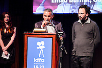The Netherlands, Amsterdam, 25 November 2011. The Award ceremony International Documentary Film Festival Amsterdam 2011. Emad Burnat (left) and Guy Davidi (right), winner Audience Award for 'Five Broken Cameras'. Photo: 31pictures.nl / (c) 2011, www.31pictures.nl