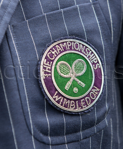 July 4th 2017, All England Lawn Tennis and Croquet Club, London, England; The Wimbledon Tennis Championships, Day 2; A close up view of an Umpires Jacket badge showing The Championship Wimbledon logo