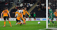 Swansea City's Jordan Garrick scores his side's third goal <br /> <br /> Photographer Chris Vaughan/CameraSport<br /> <br /> The EFL Sky Bet Championship - Hull City v Swansea City -  Friday 14th February 2020 - KCOM Stadium - Hull<br /> <br /> World Copyright © 2020 CameraSport. All rights reserved. 43 Linden Ave. Countesthorpe. Leicester. England. LE8 5PG - Tel: +44 (0) 116 277 4147 - admin@camerasport.com - www.camerasport.com