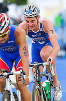 07 AUG 2011 - LONDON, GBR - Alistair Brownlee (GBR) (centre) sits in behind Ivan Rana (ESP) as the leaders start another lap of the bike during the men's round of triathlon's ITU World Championship Series (PHOTO (C) NIGEL FARROW)