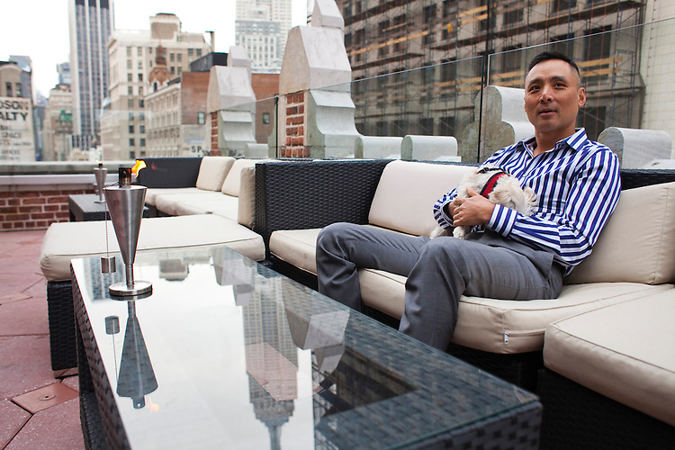 "Robert ""Toshi"" Chan, is the owner of the Flatiron Hotel in New York City, located in the North of Madison Square Park area. His new and exclusive rooftop bar (to be called Toshi's Penthouse) will host parties overlooking views of the Empire State Building and the east and south, and will open in May 2013...There is a restaurant/bar boom happening on 26th Street between Broadway and 7th Avenue in Manhattan. About six new places have opened up in the last 8 months. This area of development is called NoMad (north of Madison Sq. Park)...Photographed on 4/23/13 by Mark Abramson for The Wall Street Journal."