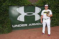Austin Riley (13) of DeSoto Central High School in Hernando, Mississippi poses for a photo during practice before the Under Armour All-American Game on August 16, 2014 at Wrigley Field in Chicago, Illinois.  (Mike Janes/Four Seam Images)