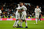 Real Madrid's (L-R) Lucas Vazquez, Vinicius Jr., Dani Ceballos celebrate goal during Copa Del Rey match between Real Madrid and CD Leganes at Santiago Bernabeu Stadium in Madrid, Spain. January 09, 2019. (ALTERPHOTOS/A. Perez Meca)