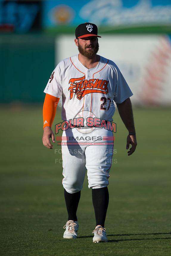 Fresno Grizzlies designated hitter Tyler White (27) warms up before a Pacific Coast League game against the Salt Lake Bees at Chukchansi Park on May 14, 2018 in Fresno, California. Fresno defeated Salt Lake 4-3. (Zachary Lucy/Four Seam Images)