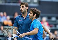 14-02-13, Tennis, Rotterdam, ABNAMROWTT,  Marcel Granollers   Marc Lopez   (r)