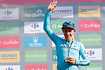 Miguel Angel Lopez Moreno (COL) Astana Pro Team leads the young riders class on the podium at the end of Stage 13 of the La Vuelta 2018, running 174.8km from Candas, Carreno to Valle de Sabero, La Camperona, Spain. 7th September 2018.<br /> Picture: Unipublic/Photogomezsport | Cyclefile<br /> <br /> <br /> All photos usage must carry mandatory copyright credit (&copy; Cyclefile | Unipublic/Photogomezsport)