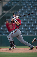 AZL Diamondbacks catcher Luvin Valbuena (2) follows through on his swing during an Arizona League game against the AZL Angels at Tempe Diablo Stadium on June 27, 2018 in Tempe, Arizona. The AZL Angels defeated the AZL Diamondbacks 5-3. (Zachary Lucy/Four Seam Images)