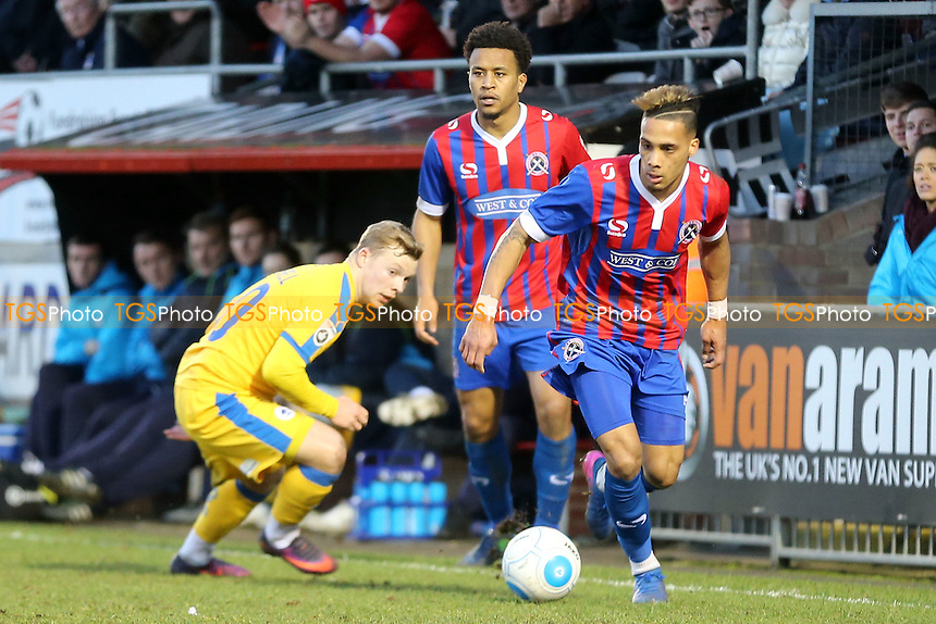 Elliott Durrell of Chester and Corey Whitely of Dagenham during Dagenham & Redbridge vs Chester, Vanarama National League Football at the Chigwell Construction Stadium on 4th February 2017