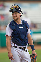 San Antonio Missions catcher Griff Erickson (11) during the Texas League baseball game against the Corpus Christi Hooks on May 10, 2015 at Nelson Wolff Stadium in San Antonio, Texas. The Missions defeated the Hooks 6-5. (Andrew Woolley/Four Seam Images)