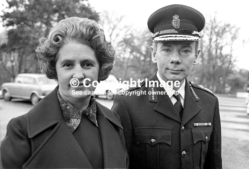 Kenneth Newman, newly appointed Chief Constable, Royal Ulster Constabulary, photographed with his wife Eileen Newman at Police Headquarters, Belfast, N Ireland. He will take over from Sir James Flanagan in May 1976.  197602170107a<br /> <br /> Copyright Image from Victor Patterson, 54 Dorchester Park, Belfast, UK, BT9 6RJ<br /> <br /> Tel: +44 28 9066 1296<br /> Mob: +44 7802 353836<br /> Voicemail +44 20 8816 7153<br /> Skype: victorpattersonbelfast<br /> Email: victor@victorpatterson.com<br /> Email: victorpatterson@me.com (back-up)<br /> <br /> IMPORTANT: If you wish to use this image or any other of my images please go to www.victorpatterson.com and click on the Terms &amp; Conditions. Then contact me by email or phone with the reference number(s) of the image(s) concerned.