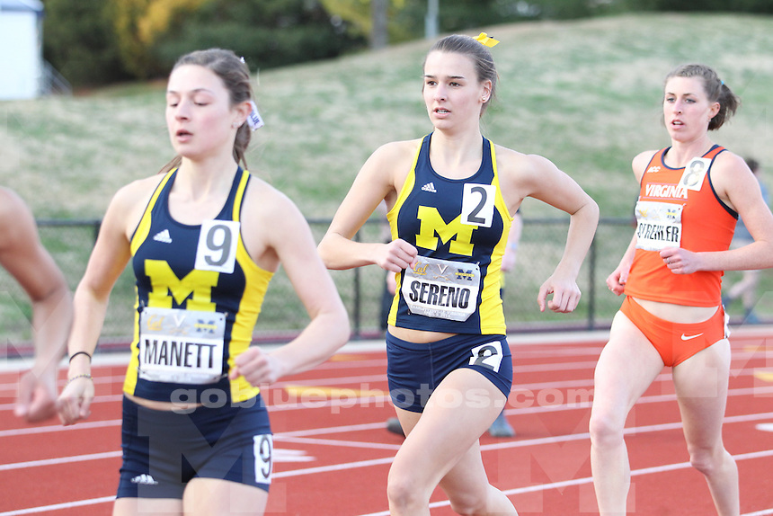 The University of Michigan women's track and field team competed at Virginia against both Virginia and California. Charlottesville, VA. April 5, 2014