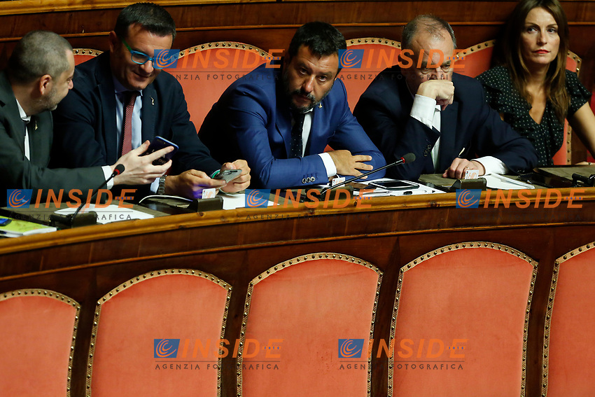 Speech of the Minister of Internal Affairs Matteo Salvini that proposed the vote of no confidence, surrounded by his senators<br /> Rome August 13th 2019. Senate. Vote to allow  ore deny the Motion of no confidence to the Italian Government proposed by the Lega Nord party. <br /> Foto Samantha Zucchi Insidefoto