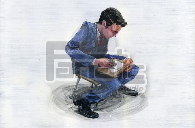 Illustration of young businessman undergoing training